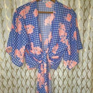 Self tie blouse, neon, wrap top.